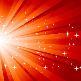 Red Sunburst With Stars - vector gratuit #210851