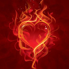 Heart In Flames - vector gratuit #211231