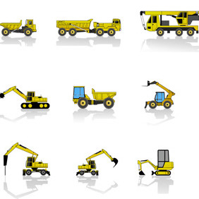 Free Construction Machines Vector Pack - Kostenloses vector #211381