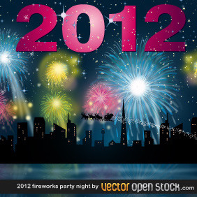 2012 Fireworks Party Night - vector gratuit #211581
