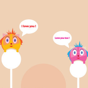 Cute Creatures In Love - vector gratuit #211651
