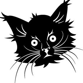 Black Cat Head Vector - vector gratuit #211901
