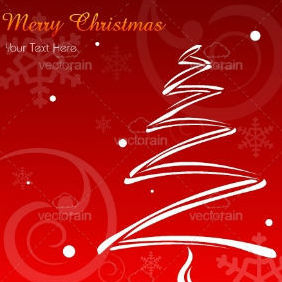 Merry Christmas Card With X-Mas Tree - vector gratuit #211981