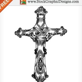 Free Hand Drawn Cross Vector - vector gratuit #212011
