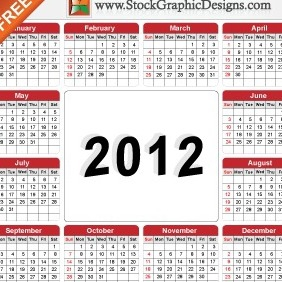 Free Vector Illustration Of 2012 Calendar - Kostenloses vector #212181
