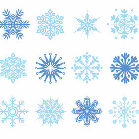 Set Of Vector Snowflakes - Free vector #212201