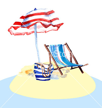 Free beach chair on island vector - Free vector #212301