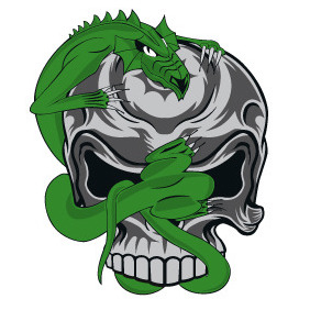 Skull Dragon - Free vector #212531