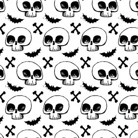 Hand Drawn Gruesome Skulls And Bones Pattern - Kostenloses vector #212931