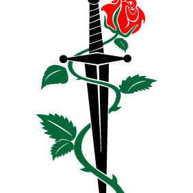 Knife And Rose Vector - Free vector #213011