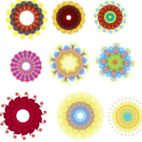 Colorful Flower Elements - Free vector #213051