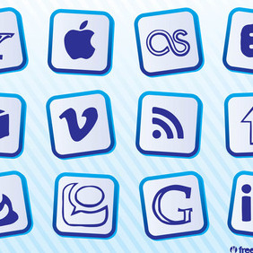 Popular Social Media Icons - vector #213091 gratis