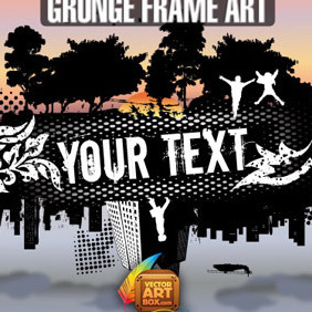 Grunge City And Nature Frame - vector gratuit #213251