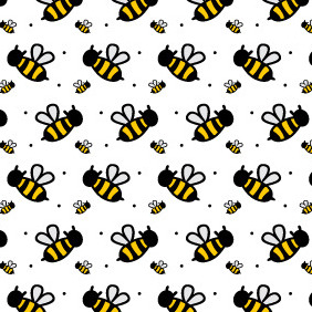 A Cute Bee Seamless Photoshop And Illustrator Pattern - Free vector #213571