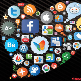 Social Network Icons - vector gratuit #213731