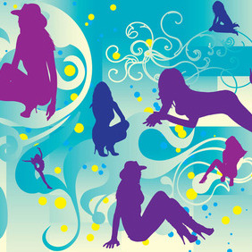 Beautiful Girls Silhouettes - бесплатный vector #213831