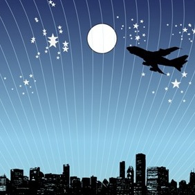 Vector Night City Scene - Free vector #213951