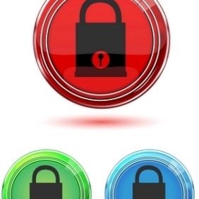 Colorful Lock Pad Buttons - vector gratuit #214051