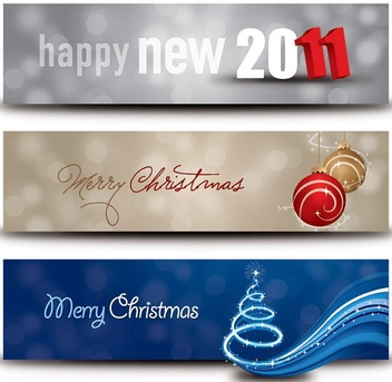 Christmas New Year Banners - Free vector #214771