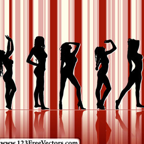 Sexy Girl Silhouettes With Striped Background - Free vector #214981