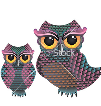 Free pink and blue color owl vector - vector gratuit #215161
