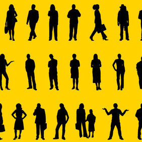 People Positions Silhouettes Vector Art - vector gratuit #216051