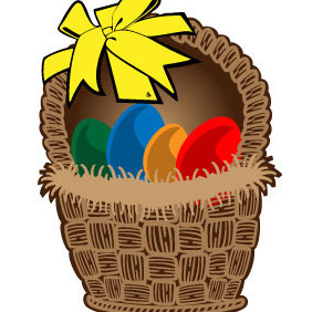 Easter Basket Vector Art - Free vector #216191