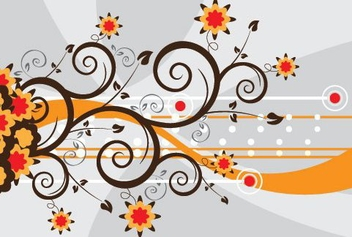 Swirls and Flowers - vector gratuit #216391