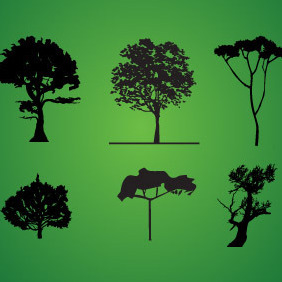 Tree Silhouette Pack - vector #216561 gratis