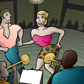 Salsa Orquesta And Dance Vector - Free vector #217321