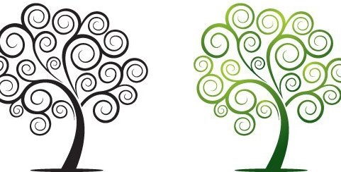 arbre swirly - vector gratuit #217421