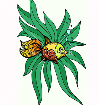 Free goldfish in algae vector - vector gratuit #217471