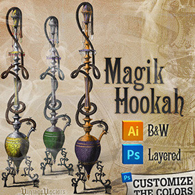 Magic Hookah Vector Art And Layered Photoshop File - бесплатный vector #217521