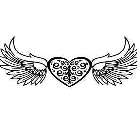 Heart And Wings Vector - vector #218051 gratis