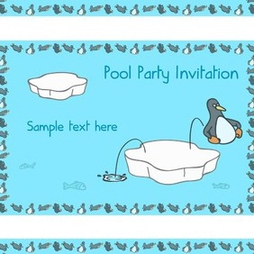Penguin Pool Party Invitation Card - vector gratuit #218111