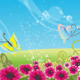 Flower Field - vector gratuit #218131
