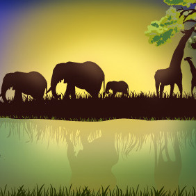 African Landscape With Animals - Free vector #218221