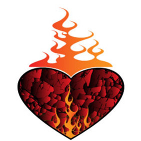 Heart On Fire Vector Clip Art - бесплатный vector #218371