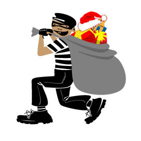 Thief With Xmas Presents Vector - Free vector #218481
