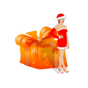 Santa Girl With Gift Vector - Free vector #218501