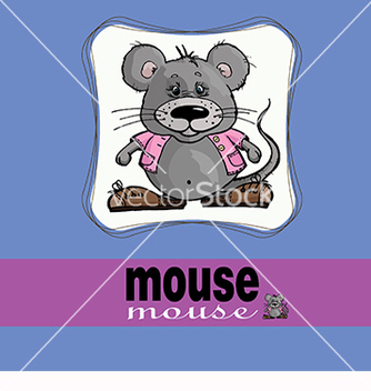 Free card with a beautiful mouse on a blue background vector - Free vector #218611