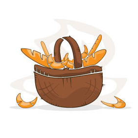 Basket With Pastry Vector - Free vector #218651