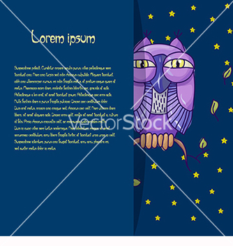 Free card for text with an owl on a blue background vector - Free vector #218831