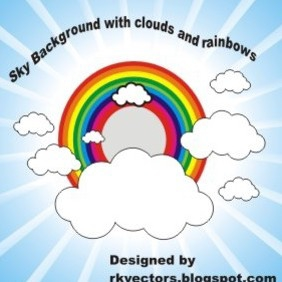 Sky Background With Clouds And Rainbows - Free vector #219081