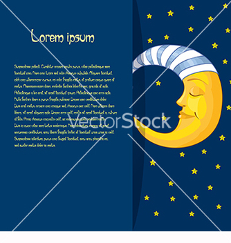 Free baby card with moon and text on a blue background vector - vector gratuit #219651