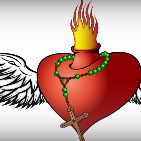 Burning Heart - vector gratuit #220091