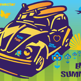 Summer Fun Beetle Car - vector gratuit #220221