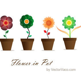 Flower In Pot - vector gratuit #220241
