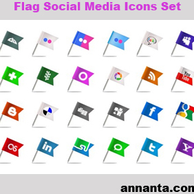 Flag Social Media Icons Set - vector #220631 gratis