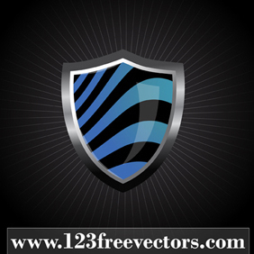 Glossy Wave Striped Shield - vector gratuit #220931
